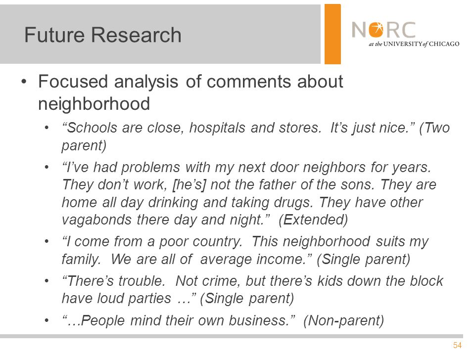 54 Future Research Focused analysis of comments about neighborhood Schools are close, hospitals and stores.