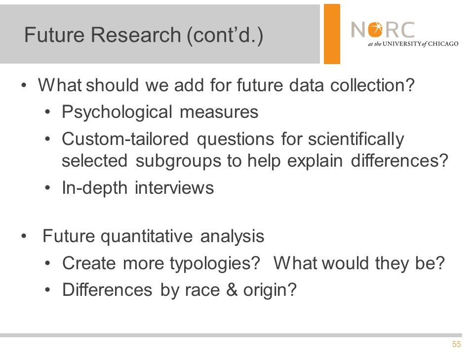 55 Future Research (cont'd.) What should we add for future data collection? Psychological measures Custom-tailored questions for scientifically select