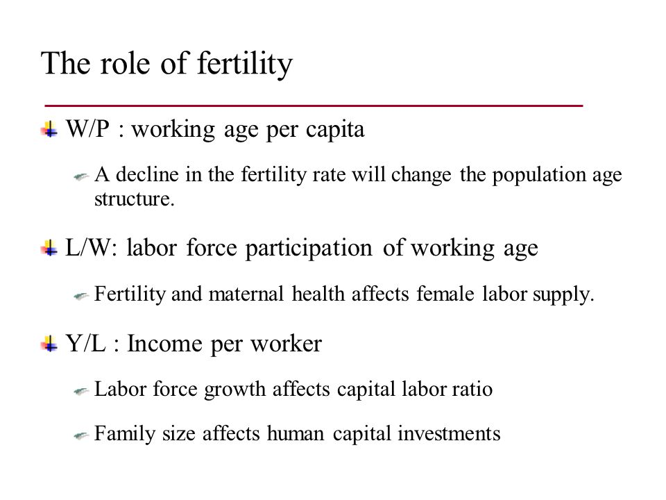 Fertility and steady state working age share – Theory
