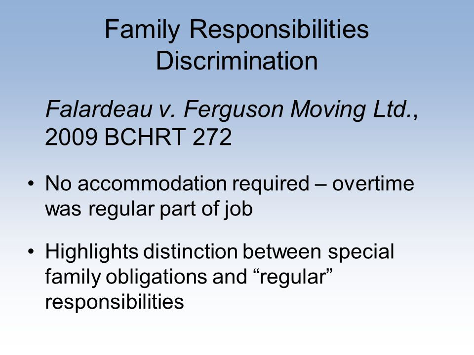 Family Responsibilities Discrimination Falardeau v.