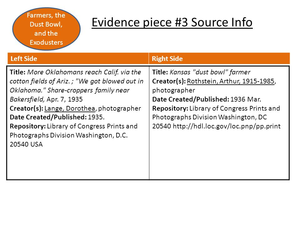 Evidence piece #3 Source Info Left SideRight Side Title: More Oklahomans reach Calif.