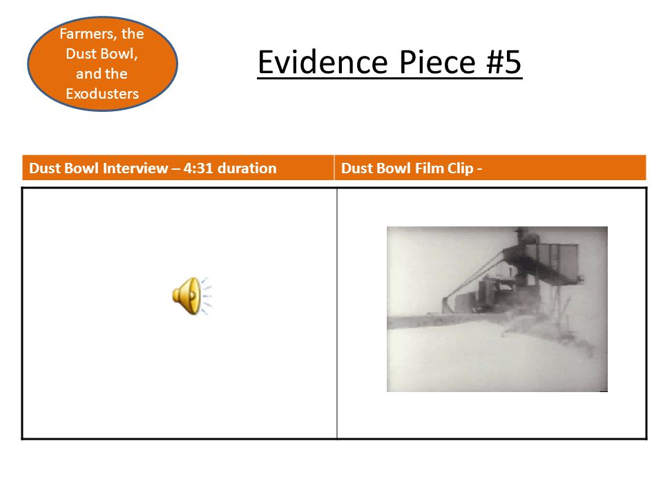 Evidence Piece #5 Farmers, the Dust Bowl, and the Exodusters Dust Bowl Interview – 4:31 durationDust Bowl Film Clip -