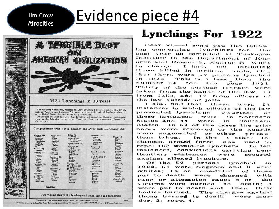 Evidence piece #4 Jim Crow Atrocities