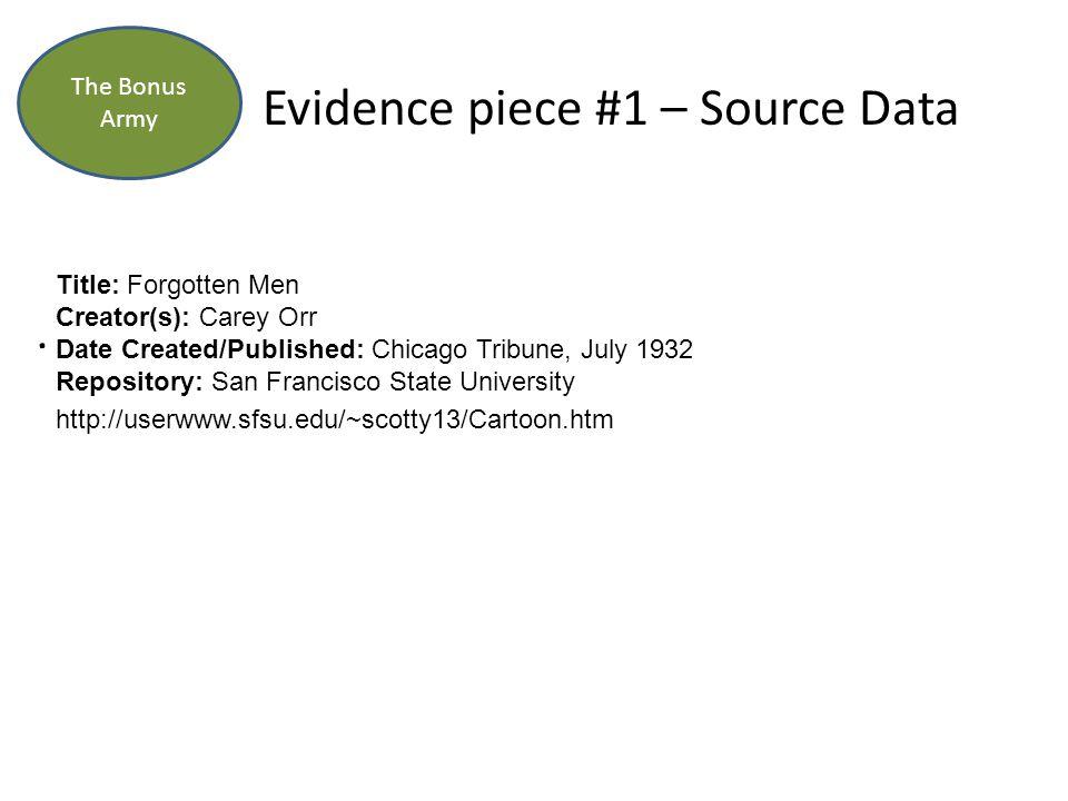 Evidence piece #1 – Source Data.