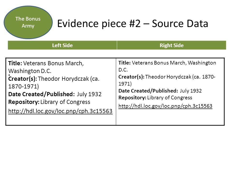 Evidence piece #2 – Source Data. The Bonus Army Left SideRight Side Title: Veterans Bonus March, Washington D.C. Creator(s): Theodor Horydczak (ca. 18