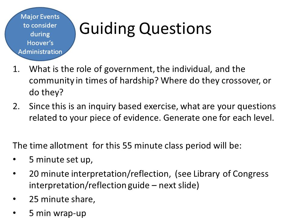 Guiding Questions 1.What is the role of government, the individual, and the community in times of hardship? Where do they crossover, or do they? 2.Sin