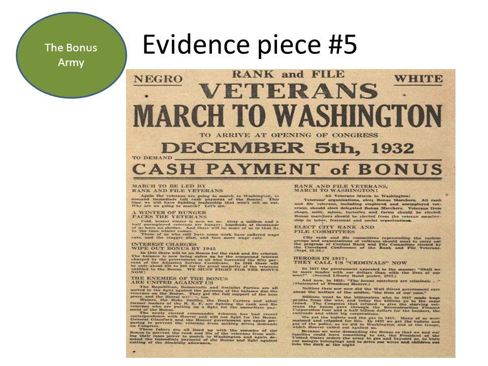 Evidence piece #5 The Bonus Army