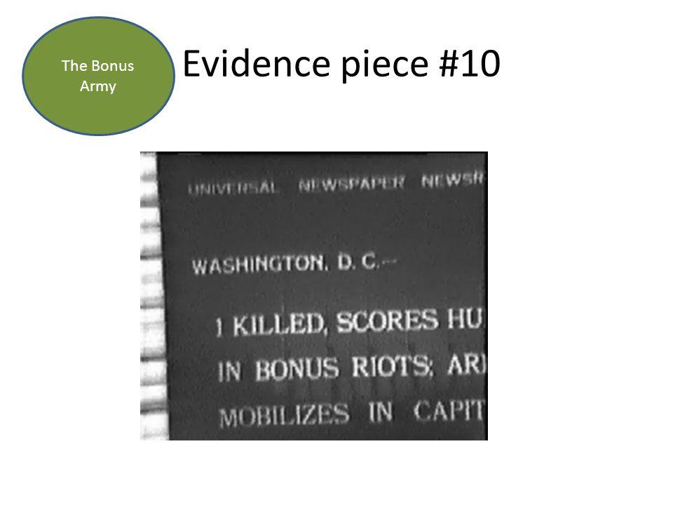 Evidence piece #10 The Bonus Army