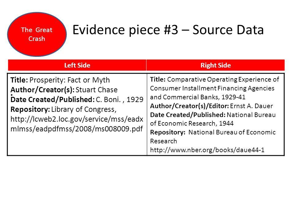 Evidence piece #3 – Source Data. Left SideRight Side Title: Prosperity: Fact or Myth Author/Creator(s): Stuart Chase Date Created/Published: C. Boni.,