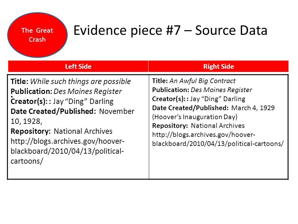 Evidence piece #7 – Source Data.