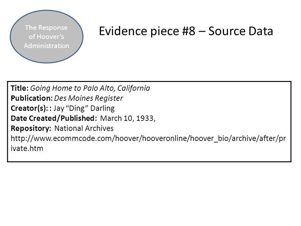 Evidence piece #8 – Source Data.