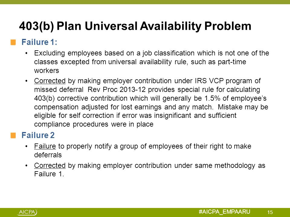 #AICPA_EMPAARU 403(b) Plan Universal Availability Problem Failure 1: Excluding employees based on a job classification which is not one of the classes