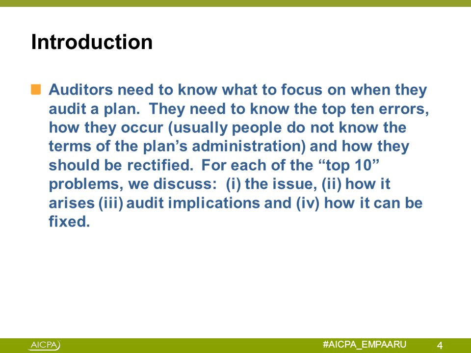 #AICPA_EMPAARU 403(b) Plan Universal Availability Problem Failure 1: Excluding employees based on a job classification which is not one of the classes excepted from universal availability rule, such as part-time workers Corrected by making employer contribution under IRS VCP program of missed deferral Rev Proc 2013-12 provides special rule for calculating 403(b) corrective contribution which will generally be 1.5% of employee's compensation adjusted for lost earnings and any match.