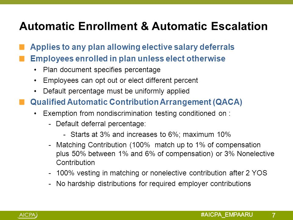 #AICPA_EMPAARU Bad Administration – Loans & Hardship Withdrawals Loan Failure 3 – Repayment Failure Failure – Employee fails to make loan repayments according to repayment schedule (e.g., employee's loan information not forwarded to payroll dept.
