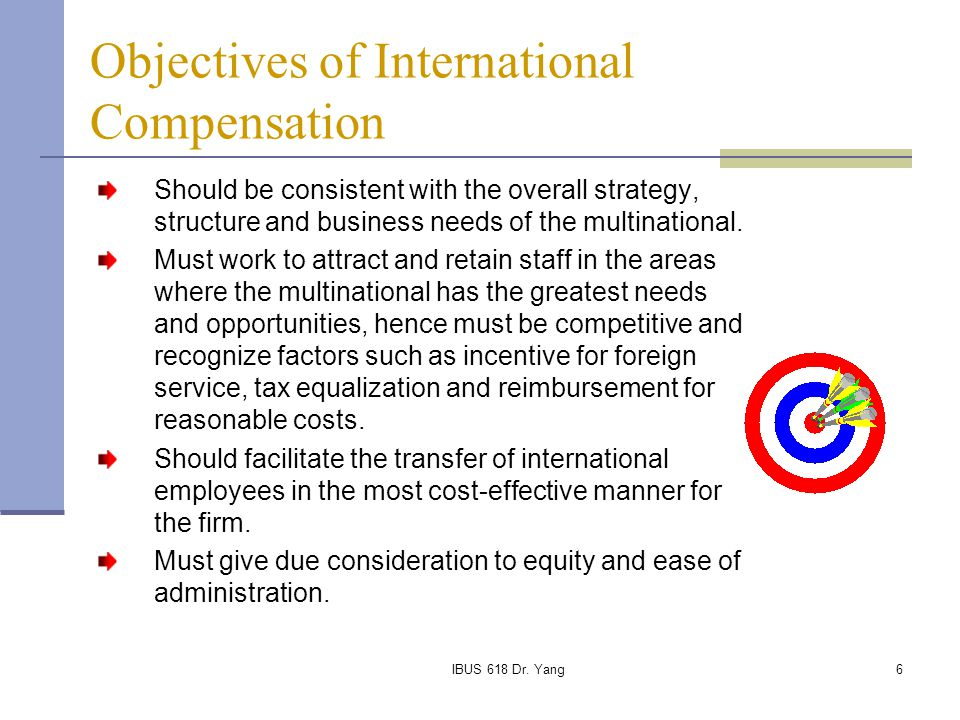 IBUS 618 Dr. Yang6 Objectives of International Compensation Should be consistent with the overall strategy, structure and business needs of the multin