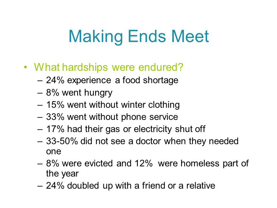Making Ends Meet What hardships were endured.