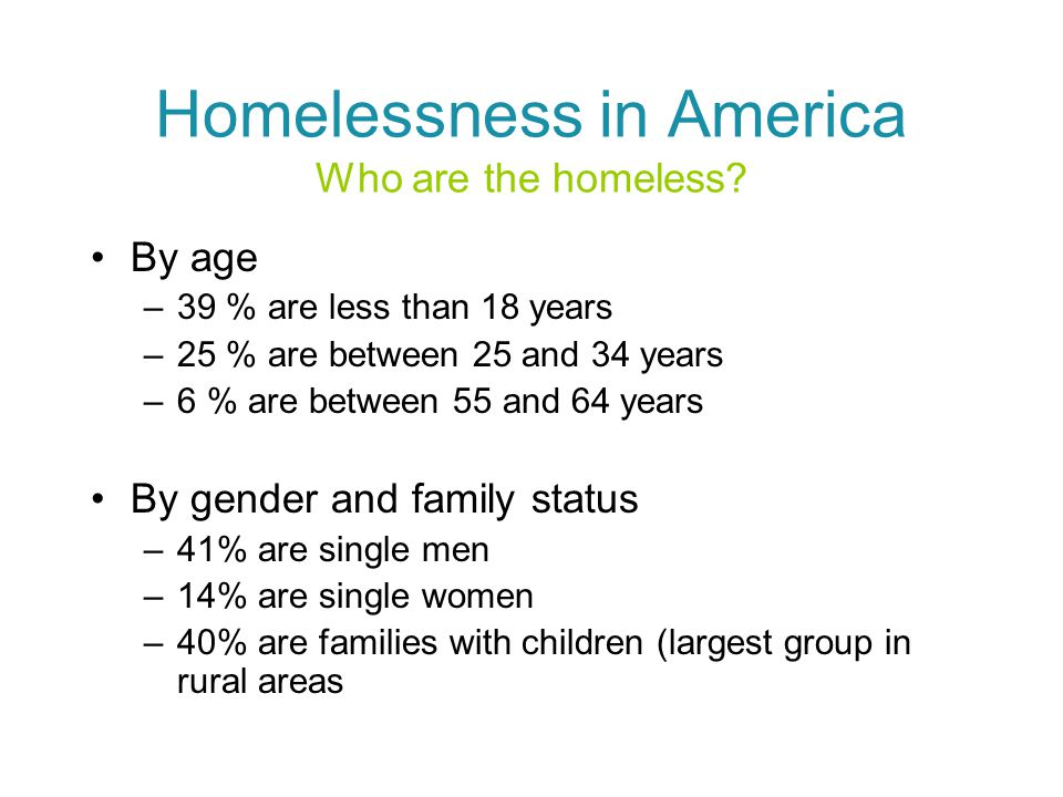 Homelessness in America Who are the homeless.