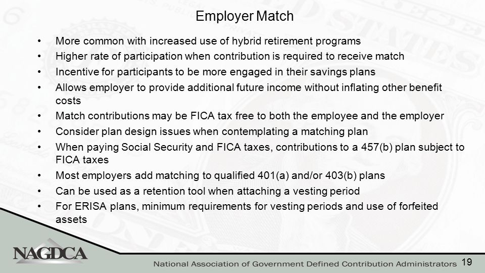 Employer Match More common with increased use of hybrid retirement programs Higher rate of participation when contribution is required to receive matc
