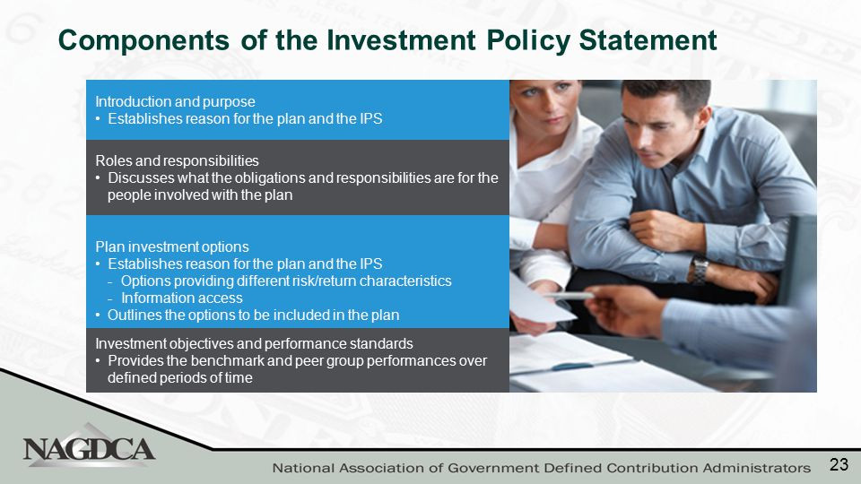 Elements of an IPS Introduction and purpose Establishes reason for the plan and the IPS Roles and responsibilities Discusses what the obligations and