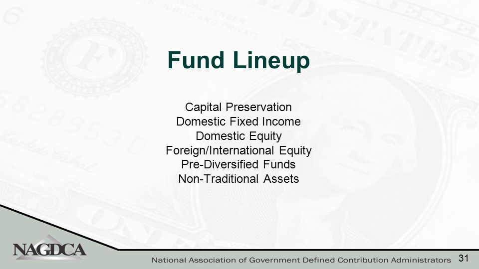 Capital Preservation Domestic Fixed Income Domestic Equity Foreign/International Equity Pre-Diversified Funds Non-Traditional Assets Fund Lineup 31