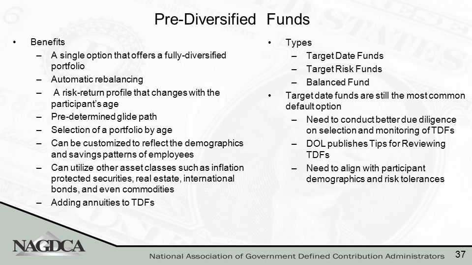 Pre-Diversified Funds Benefits –A single option that offers a fully-diversified portfolio –Automatic rebalancing – A risk-return profile that changes