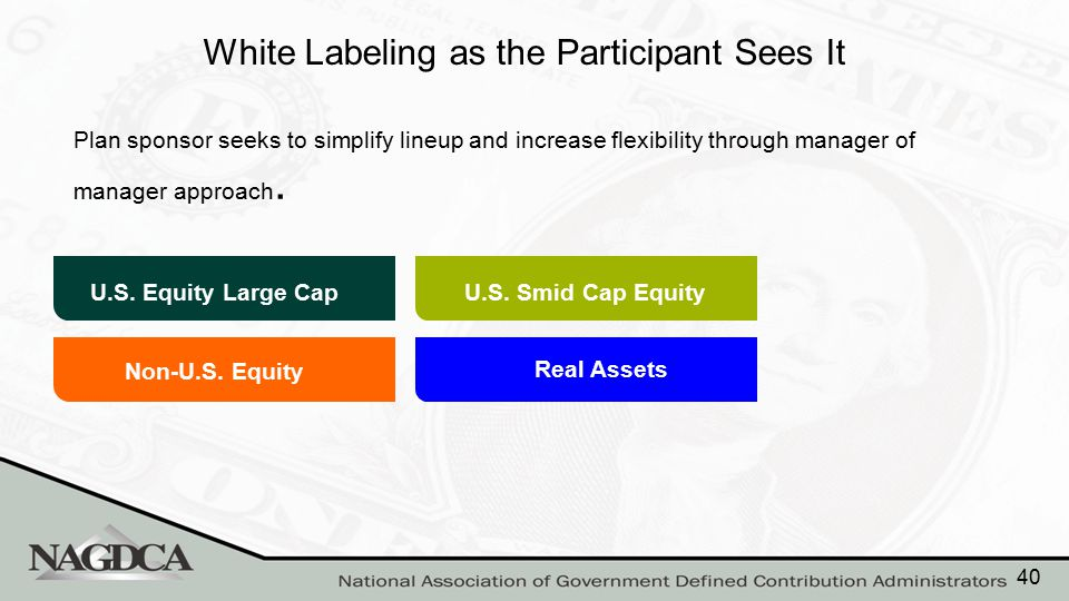 White Labeling as the Participant Sees It Plan sponsor seeks to simplify lineup and increase flexibility through manager of manager approach. Non-U.S.
