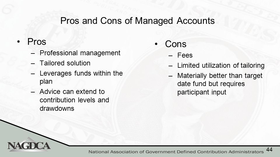Pros and Cons of Managed Accounts Pros –Professional management –Tailored solution –Leverages funds within the plan –Advice can extend to contribution