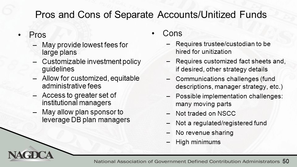 Pros and Cons of Separate Accounts/Unitized Funds Pros –May provide lowest fees for large plans –Customizable investment policy guidelines –Allow for
