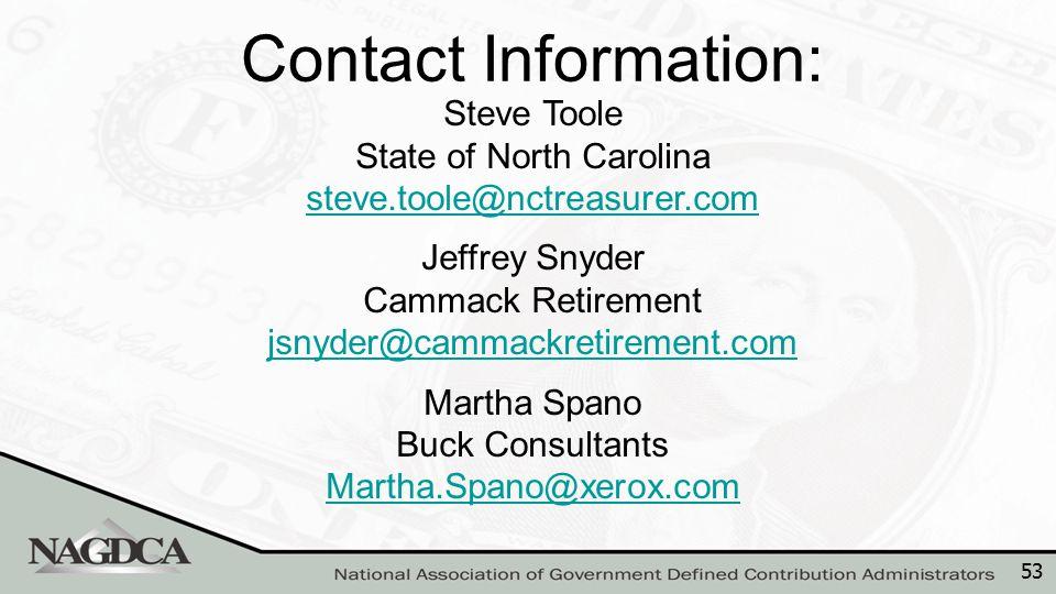 53 Steve Toole State of North Carolina steve.toole@nctreasurer.com steve.toole@nctreasurer.com Jeffrey Snyder Cammack Retirement jsnyder@cammackretire