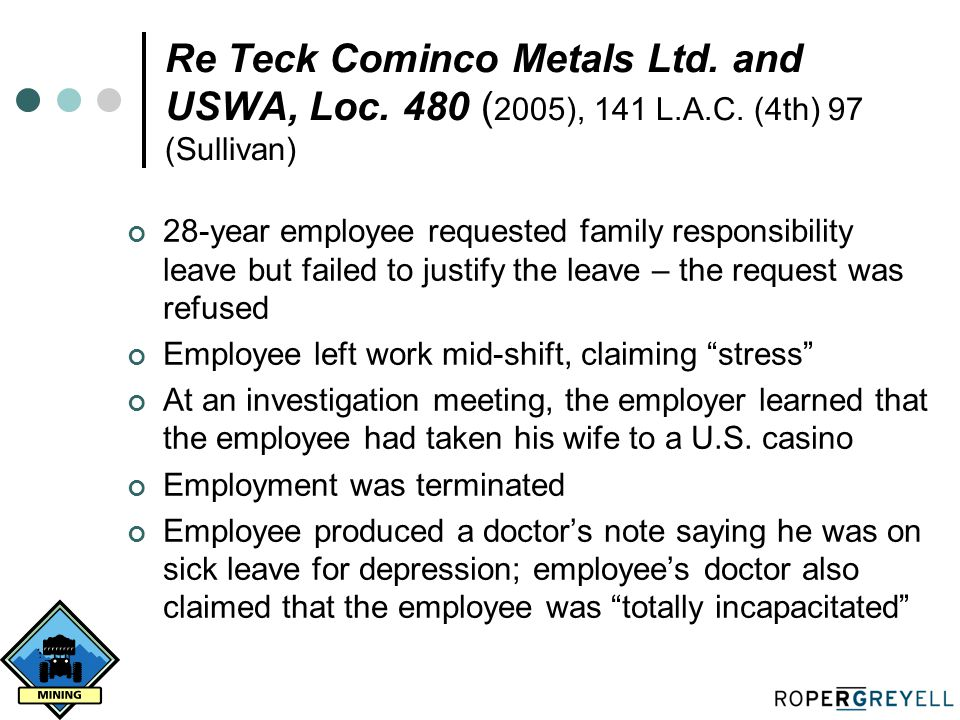 Re Teck Cominco Metals Ltd. and USWA, Loc. 480 ( 2005), 141 L.A.C. (4th) 97 (Sullivan) 28-year employee requested family responsibility leave but fail