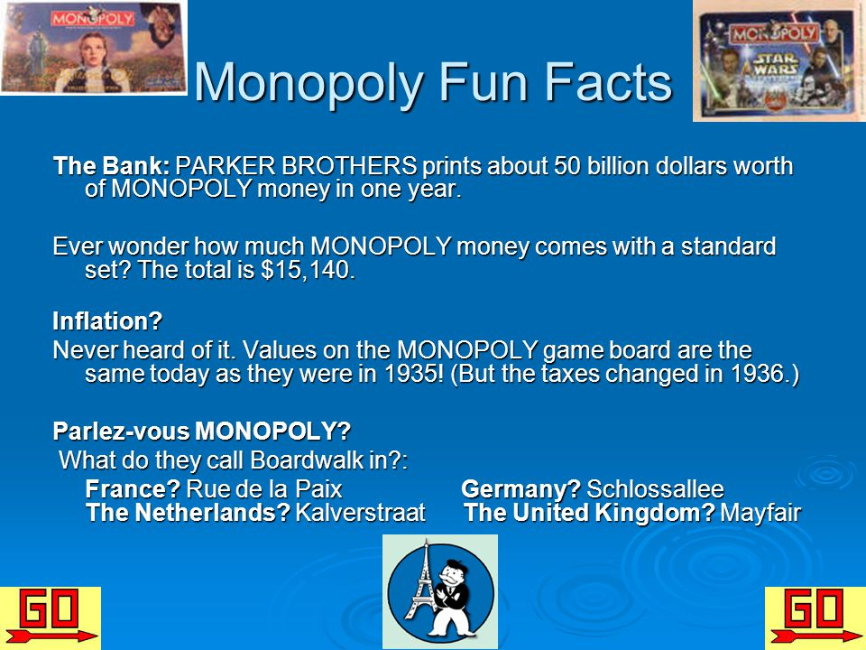 Monopoly Fun Facts The Bank: PARKER BROTHERS prints about 50 billion dollars worth of MONOPOLY money in one year. Ever wonder how much MONOPOLY money