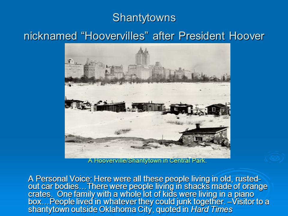 Shantytowns nicknamed Hoovervilles after President Hoover A Hooverville/Shantytown in Central Park.