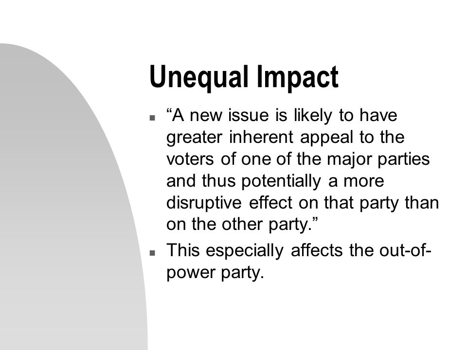 Unequal Impact n A new issue is likely to have greater inherent appeal to the voters of one of the major parties and thus potentially a more disruptive effect on that party than on the other party. n This especially affects the out-of- power party.
