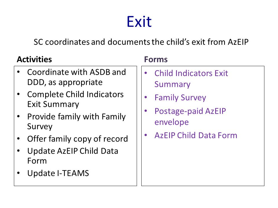 Exit Activities Coordinate with ASDB and DDD, as appropriate Complete Child Indicators Exit Summary Provide family with Family Survey Offer family cop