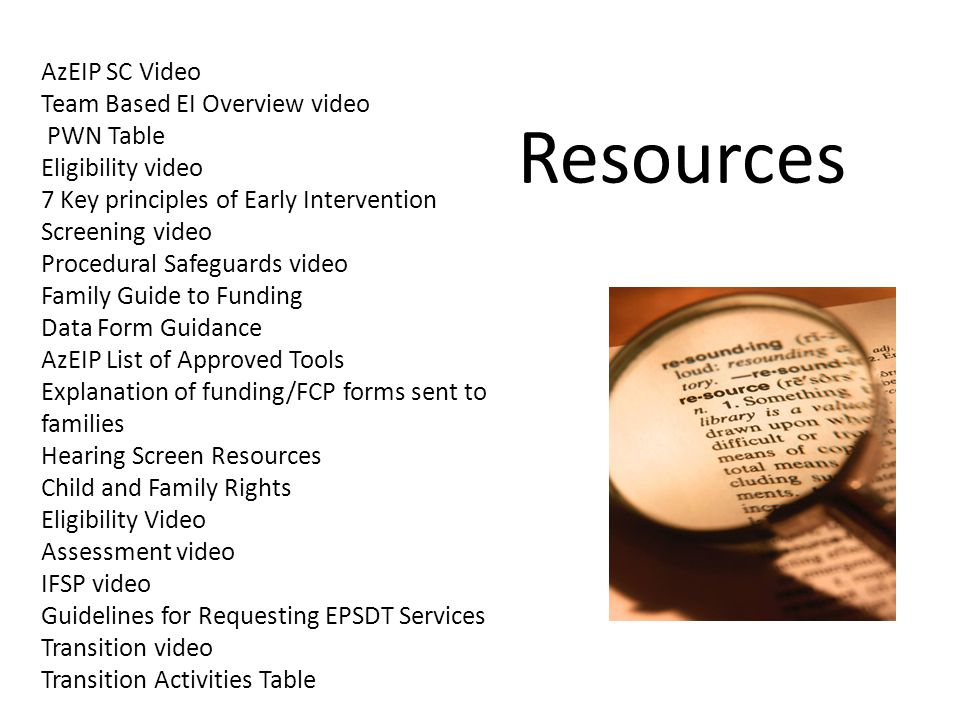 Resources AzEIP SC Video Team Based EI Overview video PWN Table Eligibility video 7 Key principles of Early Intervention Screening video Procedural Sa