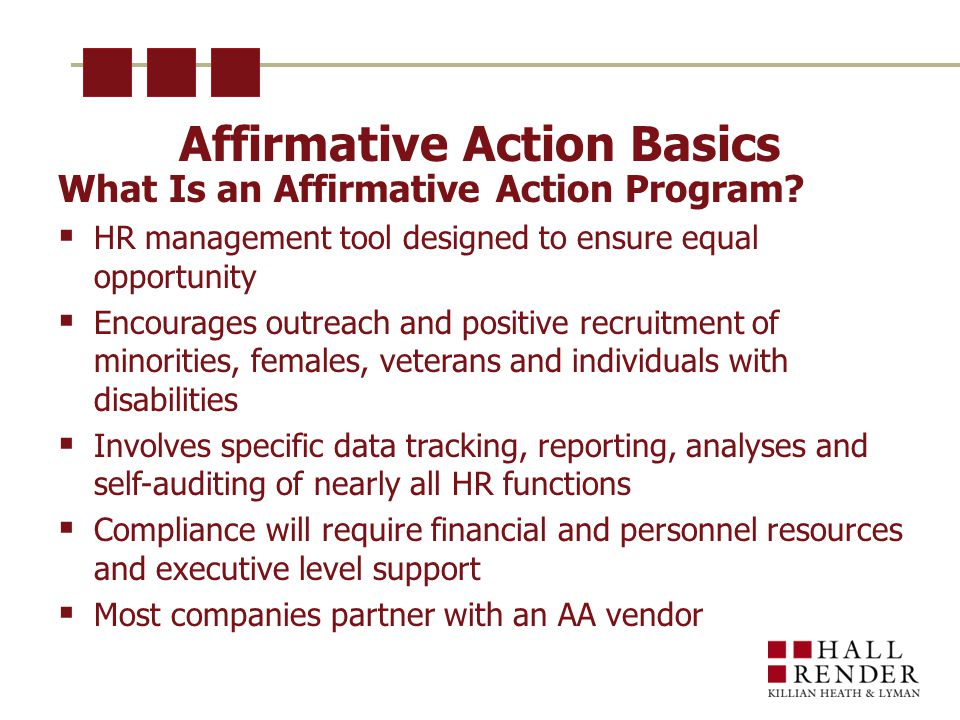 Affirmative Action Basics What Is an Affirmative Action Program.