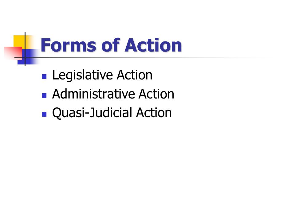Forms of Action Legislative Action Administrative Action Quasi-Judicial Action