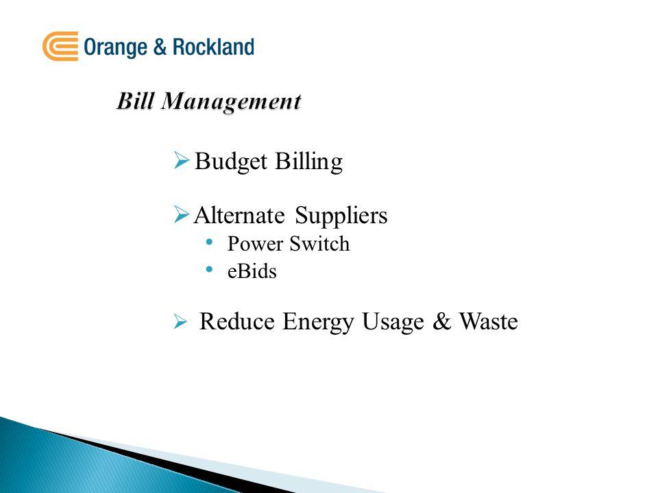 Bill Management  Budget Billing  Alternate Suppliers Power Switch eBids  Reduce Energy Usage & Waste