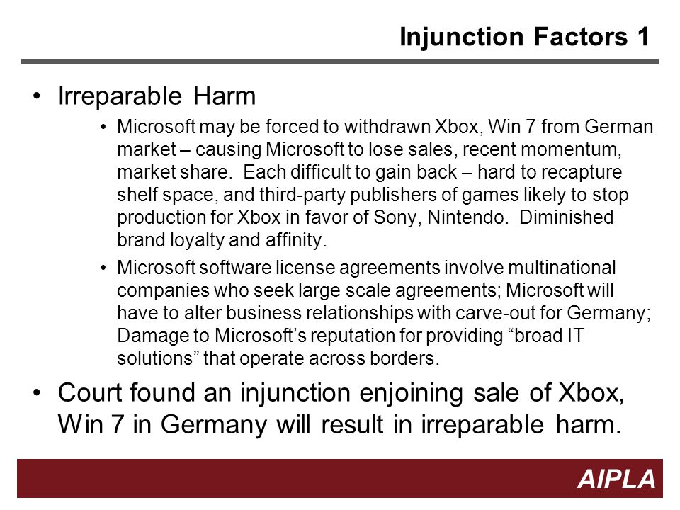 20 AIPLA Firm Logo Injunction Factors 1 Irreparable Harm Microsoft may be forced to withdrawn Xbox, Win 7 from German market – causing Microsoft to lose sales, recent momentum, market share.