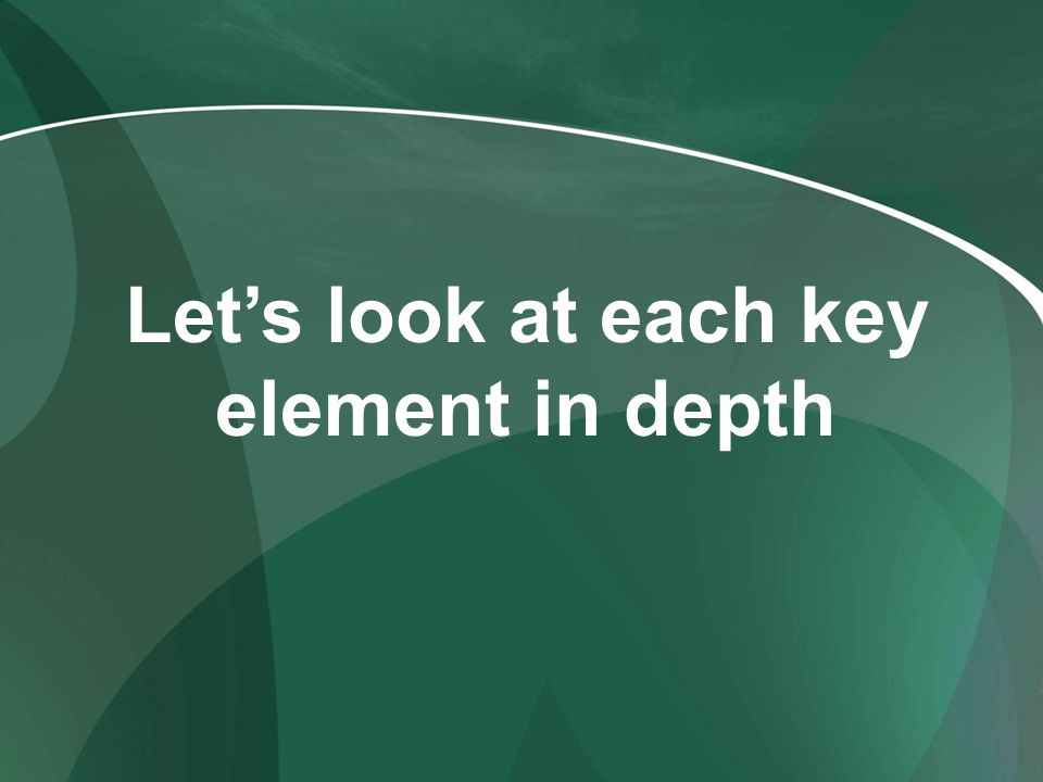 Let's look at each key element in depth