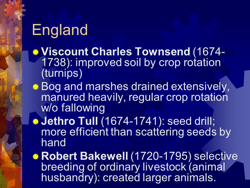 England  Viscount Charles Townsend (1674- 1738): improved soil by crop rotation (turnips)  Bog and marshes drained extensively, manured heavily, regular crop rotation w/o fallowing  Jethro Tull (1674-1741): seed drill; more efficient than scattering seeds by hand  Robert Bakewell (1720-1795) selective breeding of ordinary livestock (animal husbandry): created larger animals.