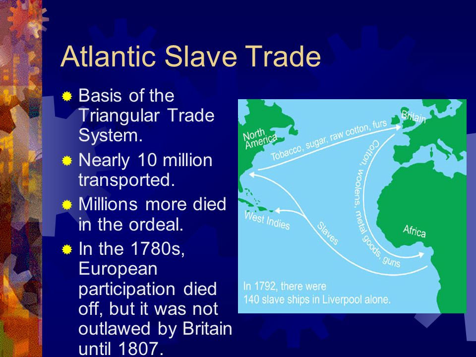 Atlantic Slave Trade  Basis of the Triangular Trade System.