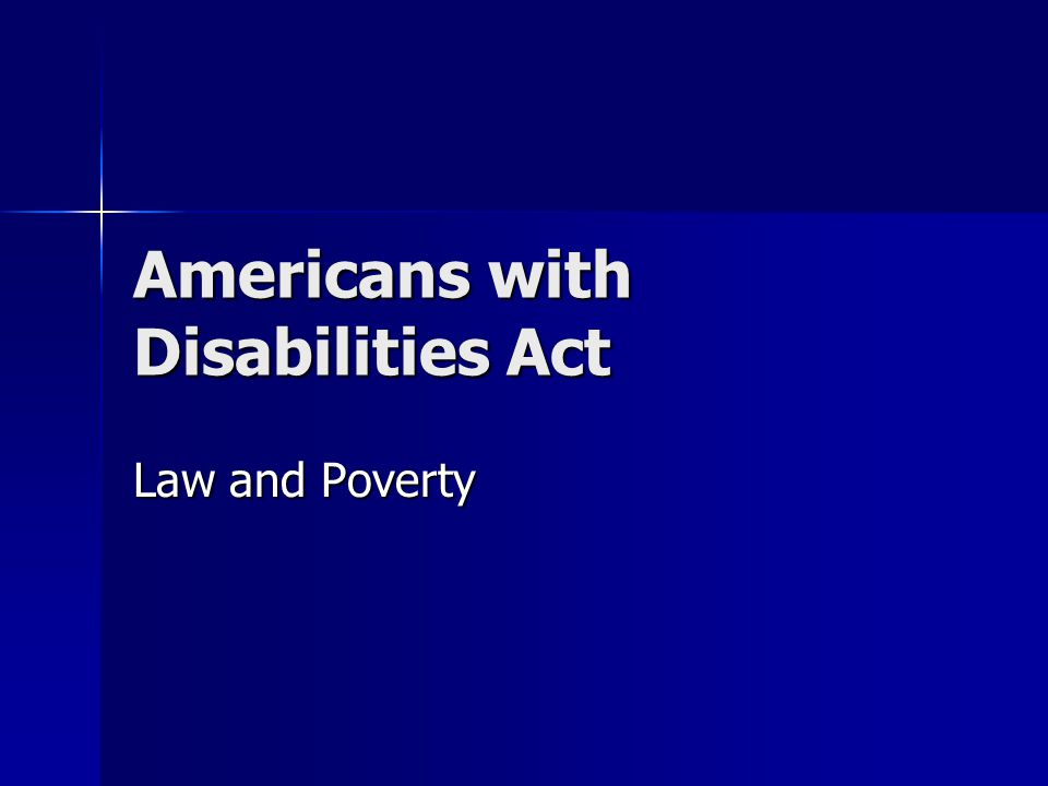 Americans with Disabilities Act Law and Poverty