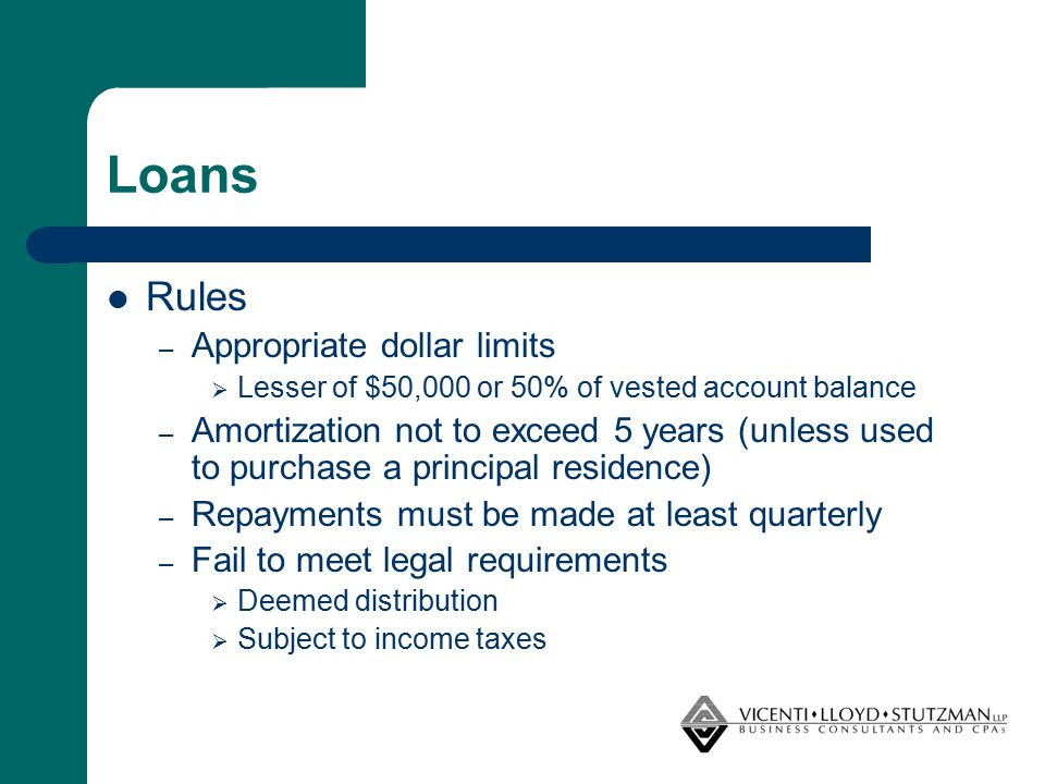 Loans Rules – Appropriate dollar limits  Lesser of $50,000 or 50% of vested account balance – Amortization not to exceed 5 years (unless used to purc