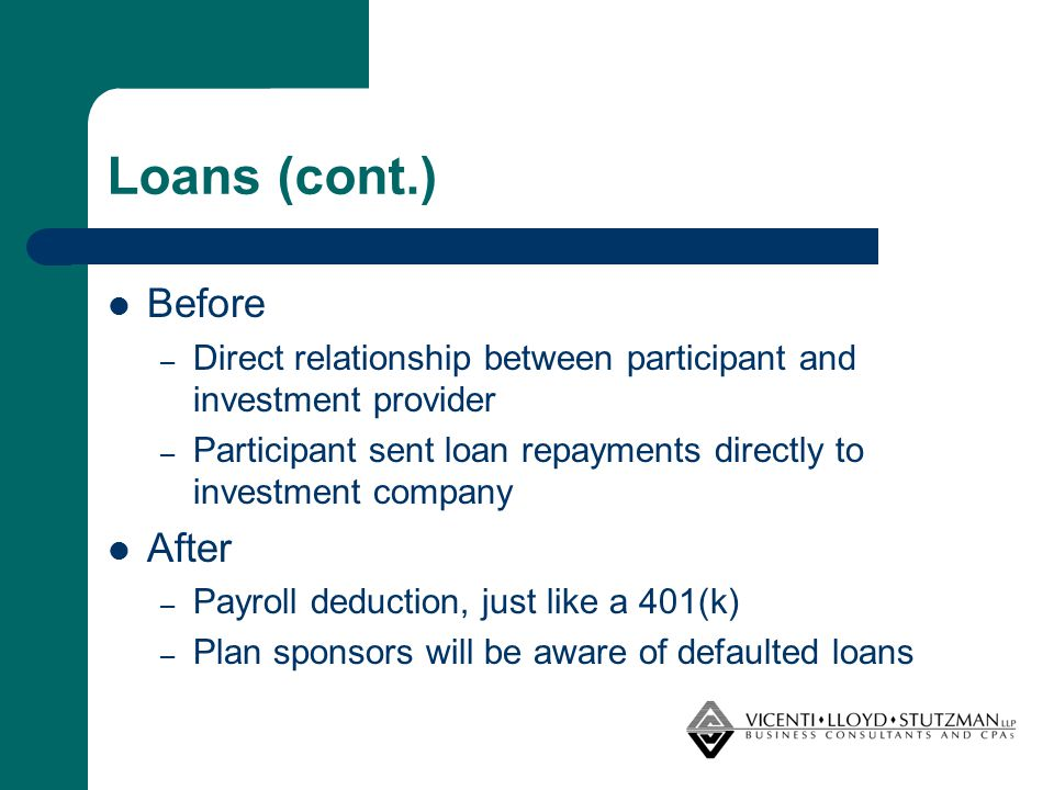 Loans (cont.) Before – Direct relationship between participant and investment provider – Participant sent loan repayments directly to investment compa