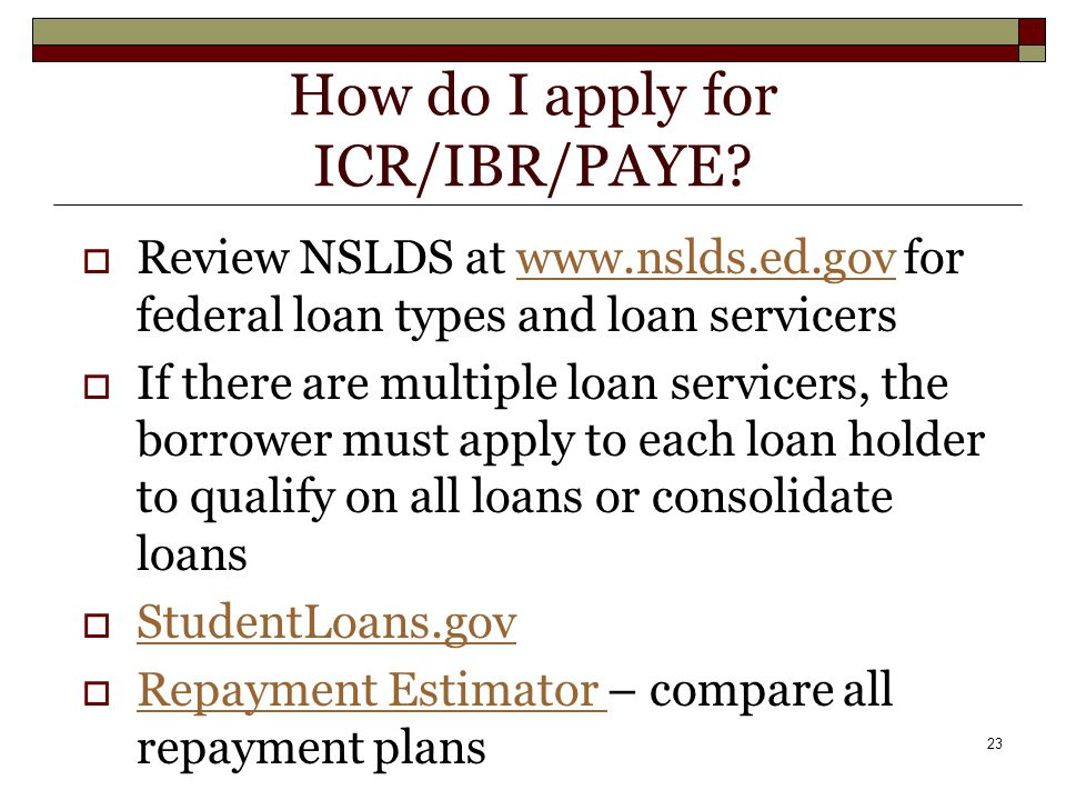 23 How do I apply for ICR/IBR/PAYE.