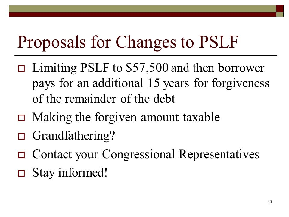 Proposals for Changes to PSLF  Limiting PSLF to $57,500 and then borrower pays for an additional 15 years for forgiveness of the remainder of the debt  Making the forgiven amount taxable  Grandfathering.