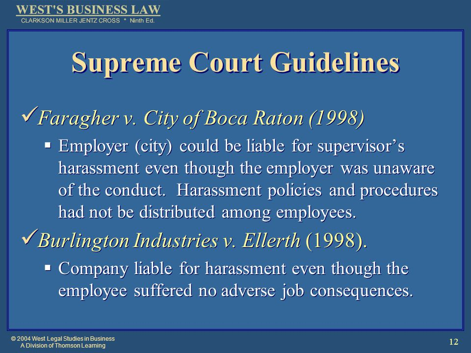 © 2004 West Legal Studies in Business A Division of Thomson Learning 12 Supreme Court Guidelines Faragher v.