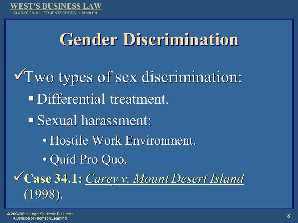 © 2004 West Legal Studies in Business A Division of Thomson Learning 8 Gender Discrimination Two types of sex discrimination:  Differential treatment.