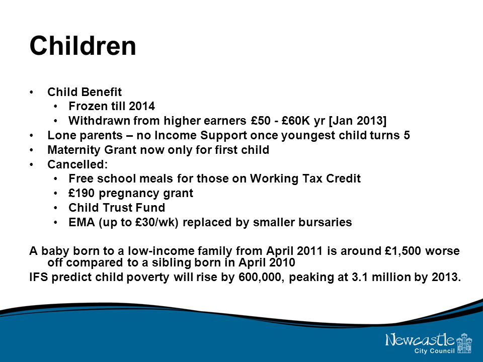Children Child Benefit Frozen till 2014 Withdrawn from higher earners £50 - £60K yr [Jan 2013] Lone parents – no Income Support once youngest child turns 5 Maternity Grant now only for first child Cancelled: Free school meals for those on Working Tax Credit £190 pregnancy grant Child Trust Fund EMA (up to £30/wk) replaced by smaller bursaries A baby born to a low-income family from April 2011 is around £1,500 worse off compared to a sibling born in April 2010 IFS predict child poverty will rise by 600,000, peaking at 3.1 million by 2013.
